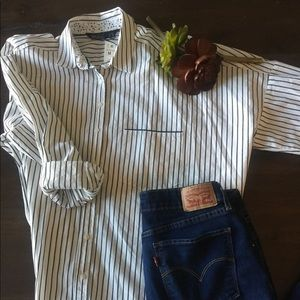 Zara pinstripe button up shirt